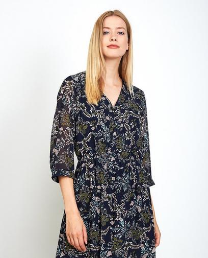 Nachtblauwe maxi-jurk